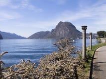 Lugano, oude kolommen stock afbeeldingen