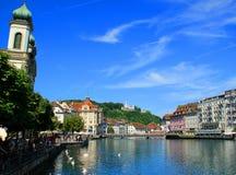 Lugano See in der Schweiz Stockfoto