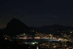 Lugano, Suíça, na noite Foto de Stock