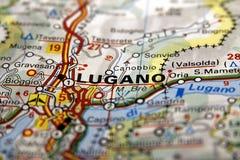 Lugano sulla mappa, Svizzera Fotografie Stock