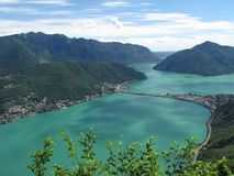 Lugano - Switzerland. View of the Lugano lake and bridge from Monte San Salvatore Royalty Free Stock Photos