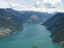 Lugano - Switzerland. Lugano lake and mountains from Monte San Salvatore Royalty Free Stock Photo