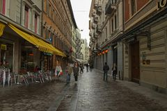 A street with touristic shops and cafe in Lugano, Switzerland stock images