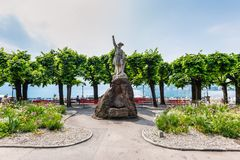 Sculpture of William Tell. Lugano, Switzerland - May 28, 2016: Sculpture of William Tell at the promenade of the luxurious resort in Lugano on Lake Lugano and Stock Image