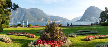 Lugano, Switzerland. Picture from the botanical park. Lugano, Switzerland: Park of the City. Picture from the botanical park by the lake and surrounding Stock Photography
