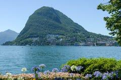 Lugano, Switzerland - View of the bay and mount Salvatore Stock Photo