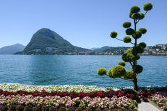 Lugano, Switzerland - View of the bay and mount Salvatore Stock Photography