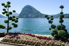 Lugano, Switzerland - View of the bay and mount Salvatore Stock Image