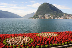 Lugano, Switzerland - View of the gulf from the botanical garden Royalty Free Stock Photography