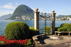 Lugano, Switzerland - View of the gulf from the botanical garden Royalty Free Stock Photo