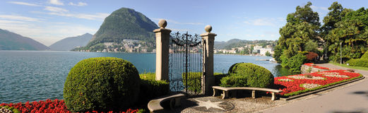 Lugano, Switzerland - View of the gulf from the botanical garden. Of the city Royalty Free Stock Photography