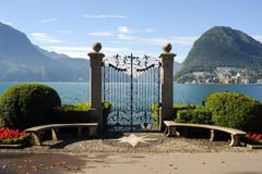 Lugano, Switzerland - View of the gulf from the botanical garden Stock Photos