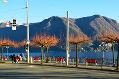 LUGANO SZWAJCARIA, LISTOPAD, - 27, 2017: Zadziwiający spadek zimy widok jezioro przód Lugano z pięknymi drzewami, Szwajcaria Fotografia Stock