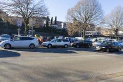 Lugano - taxiparkeringslinje royaltyfri fotografi