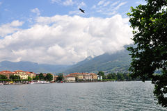 Lugano town on Lugano lake, Switzerland Royalty Free Stock Photos