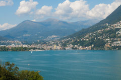 Lugano view from the lake Royalty Free Stock Photos