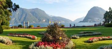 Lugano, Zwitserland Beeld van het botanische park stock fotografie