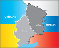 Lugansk and Donetsk between Russia and Ukraine. Map boundaries Royalty Free Stock Photography