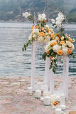 Lugar adornado para una ceremonia de boda Foto de archivo