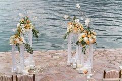 Lugar adornado para una ceremonia de boda Imágenes de archivo libres de regalías