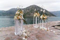 Lugar adornado para una ceremonia de boda Fotografía de archivo libre de regalías