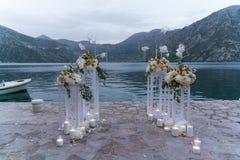 Lugar adornado para una ceremonia de boda Fotos de archivo