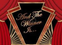 Lugar Art Logo Sign do prêmio da Academia do filme da bandeira do vencedor primeiro foto de stock