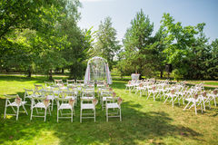 Lugar bonito para a cerimônia de casamento exterior Foto de Stock Royalty Free