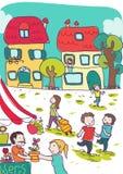 Lugar colorido feliz na cidade ilustração do vetor
