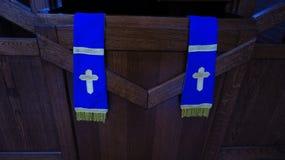 Lugar confessional da confissão na igreja Católica Fotografia de Stock