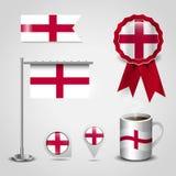 Lugar da bandeira de país de Inglaterra Reino Unido no Pin do mapa, em Polo de aço e em bandeira do crachá da fita ilustração do vetor