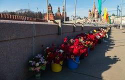 Lugar da morte de Boris Nemtsov - na ponte perto do Kremlin em alguns anos todas as cores Fotografia de Stock