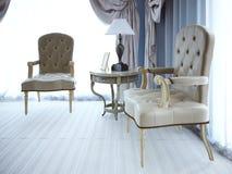 Lugar da negociação Tabela clássica do armchaira e do coffe Foto de Stock