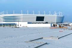 Lugar de deportes, deportes construcción, nieve del invierno del estadio de fútbol Fotografía de archivo
