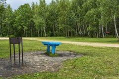 Lugar de descanso con la tabla y barbacoa en el bosque en el claro Foto de archivo libre de regalías