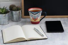 Lugar de funcionamento com uma pena, um caderno, um copo oriental do chá, dois cactos em uns potenciômetros do ferro imagens de stock royalty free