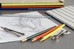 Lugar de funcionamento do desenhista Imagem de Stock Royalty Free