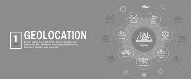 Lugar de Geo que visa com posicionamento de GPS e bandeira de encabeçamento da Web do grupo do ícone de Geolocation ilustração royalty free