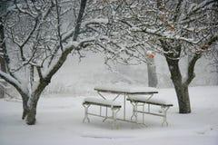 Lugar de la comida campestre en invierno Foto de archivo