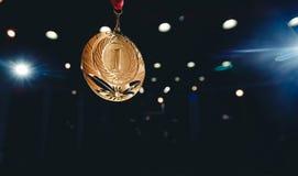 Lugar de la medalla de oro del ganador del deporte primer foto de archivo