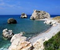 Lugar de nacimiento del Aphrodite en la isla de Chipre Imagen de archivo libre de regalías
