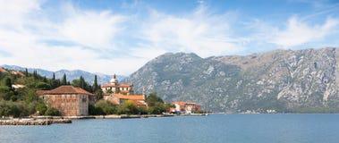 Lugar de Prcanj na baía Montenegro de Kotor Imagens de Stock