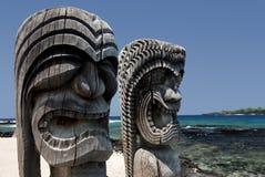 Lugar de Tikis del refugio Hawaii Fotografía de archivo