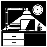 Lugar de trabajo blanco y negro Imagen de archivo libre de regalías