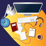 Lugar de trabajo colorido Fotografía de archivo