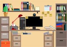 Lugar de trabajo con cosas de la oficina, equipo, objetos del negocio Imagen de archivo