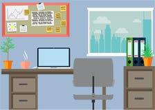 Lugar de trabajo con cosas de la oficina, equipo, objetos del negocio Imagenes de archivo