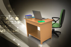 Lugar de trabajo con el ordenador Foto de archivo libre de regalías