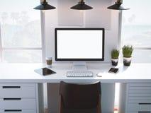 Lugar de trabajo con la pantalla en blanco en una tabla blanca representación 3d stock de ilustración