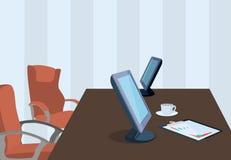 Lugar de trabajo con los dispositivos electrónicos y la cancillería en diseño plano Imágenes de archivo libres de regalías